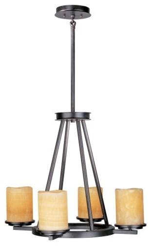Maxim 21144SCRE Luminous Single Tier Chandelier - 24W in. Rustic Ebony contemporary-chandeliers