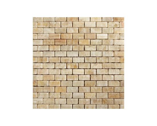 """1""""x2"""" Honey Onyx Brick Polished Natural Stone Mosaic -"""
