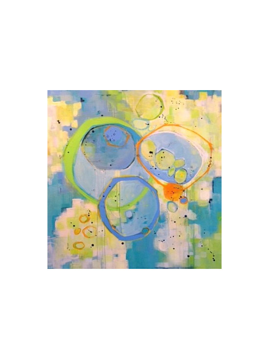 sunspots - 4' x 4' large abstract. Acrylic, graphite and oil pastel on stretched canvass