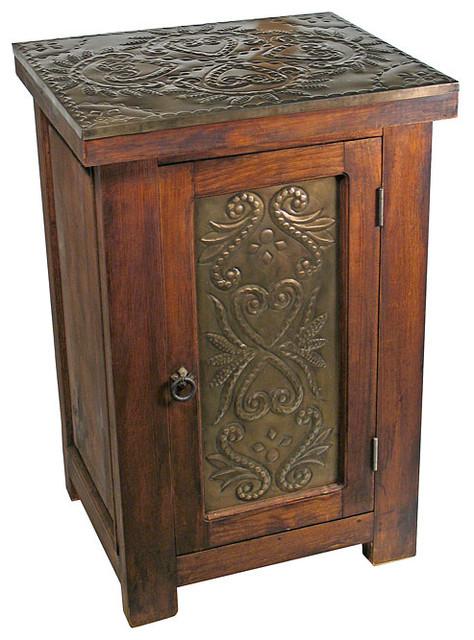 Rustic Wood Bedside Table: Rustic Reclaimed Wood & Tin Nightstand