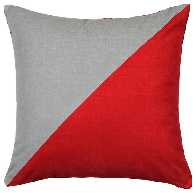 Duo Red & Grey Throw Pillow - Modern - Decorative Pillows - by LaCozi