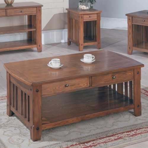 Parker House Mission Rectangular Cocktail Table With Drawers Traditional Side Tables And End