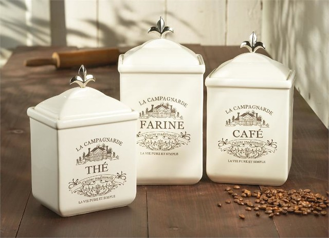 Cream ceramic maison canister set traditional kitchen for Cream kitchen set
