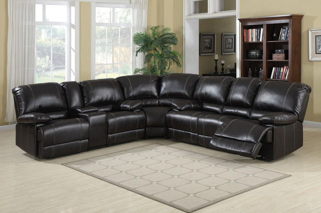 Ac Pacific Cocoa Leather Dual Reclining Sectional Sofa Storage Console Contemporary