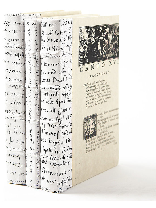 White Script Book- set of 3 - With beautiful texture and old-world craftsmanship, these white script books offer a time-worn choice to dress your shelves or coffee table. Classic raised bands and white vellum on the spine give it a lovely detailed look. Sizes vary.