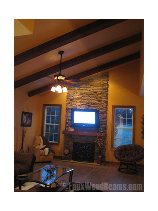 Sandblasted Faux Beams - Synthetic wood beams add a beautiful finishing touch to living room designs and sloped roofs.