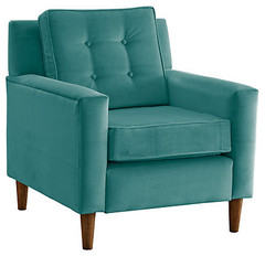 One Kings Lane - Cool & Contemporary - Velvet Helmick Chair, Teal