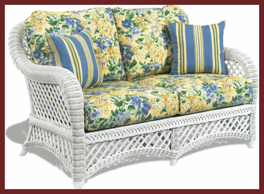 White Wicker Loveseat: Lanai Style traditional patio furniture and outdoor furniture