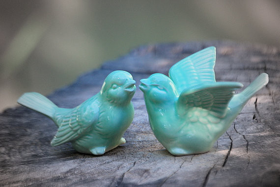 Bird Wedding Cake Toppers In Mint Green Love Birds By Claylicious eclectic accessories and decor