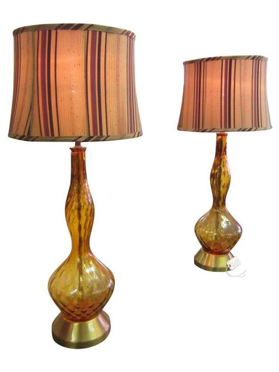 Amber Glass Lamps - Pair of Italian amber glass lamps - likely from master Italian glass studio,These lamps are classic mid-century pieces. They are extremely flexible in being placed with other styles - minimal & modern, Hollywood Regency, classic contemporary and more.