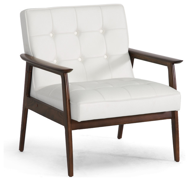 Stratham white midcentury modern club chair modern for Mid century modern leather chairs