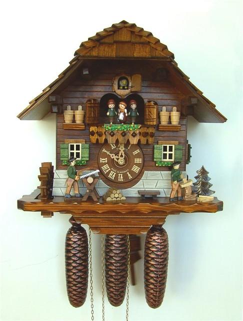8 day wooden cuckoo clock in antique finish contemporary cuckoo clocks by ivgstores - Wooden cuckoo clocks ...