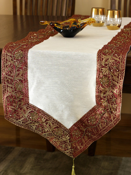 """Elegant Table Runners - Eye catching """"Glamorous Border Table Runner"""" Creamy Wine color. Hand crafted in India. Red Beige"""