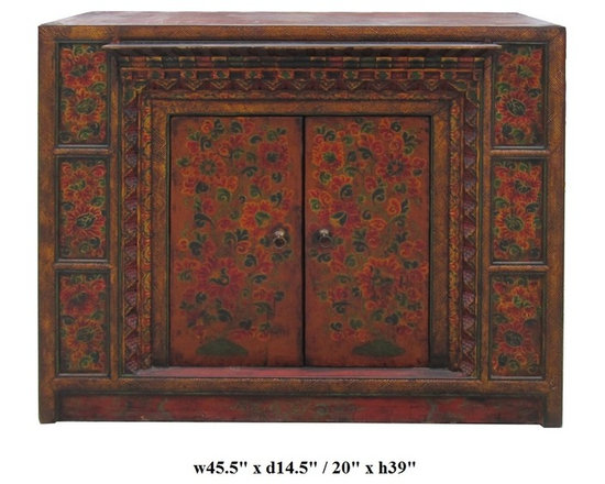 Oriental Tibetan Style Flower Pattern Offer Table Cabinet - This is an old cabinet restored with hand drawing Tibetan flower pattern and motif. There are hand carved accent around the doors. A small platform is built for offering display. It can be used simply as an accent cabinet with its special decorative graphic.
