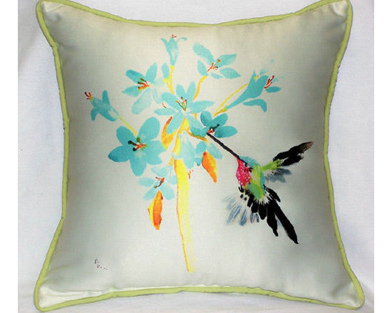 Blue Hummingbird Small Outdoor Pillow -