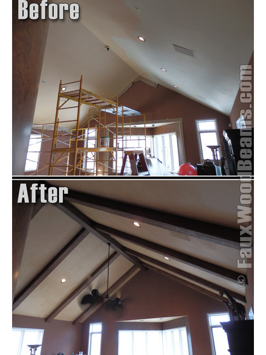 Sandblasted Faux Beams - The look of wood framing and enhancing your ceiling is a beautiful and traditional touch to any room but real wood can often be heavy and cost prohibitive. Faux wood beams, on the other hand, make the job far simpler, quicker and more affordable.
