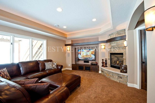 TV area, fireplace traditional-basement