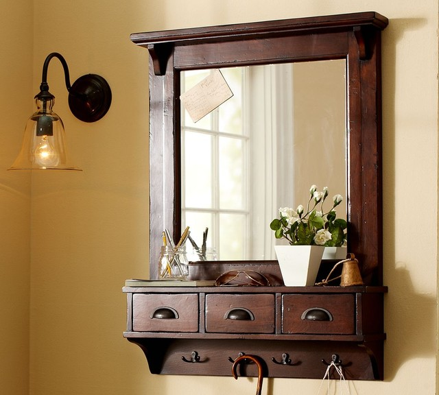 Wall-Mount Entryway Organizer Mirror traditional mirrors