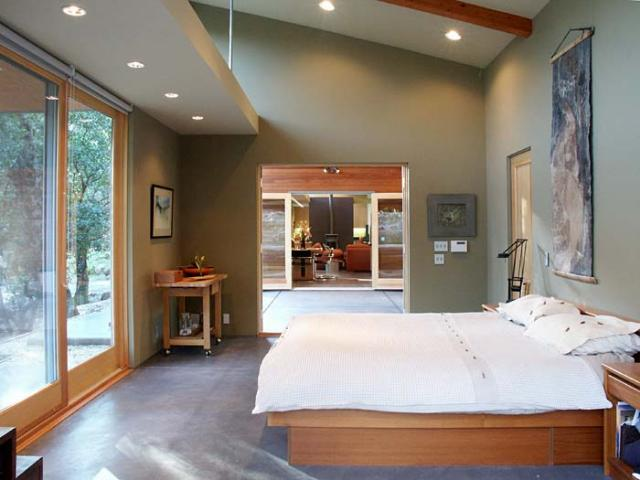 From master bedroom through breezeway to main living area modern-bedroom