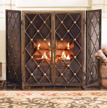 Byron Two Door Fire Screen Grandin Road Traditional Fireplace Accessories By Grandin Road