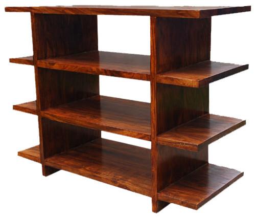 Santa fe open back tv media center bookcase rustic for Media center with bookshelves