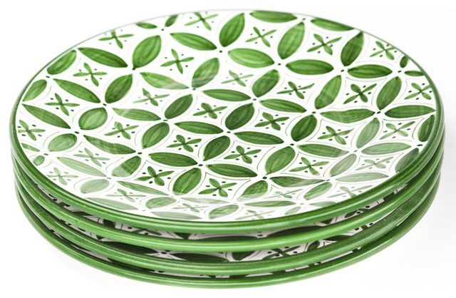 Sobremesa by Greenheart Green Fez Dinner Plates, Set of 4 contemporary-dinner-plates