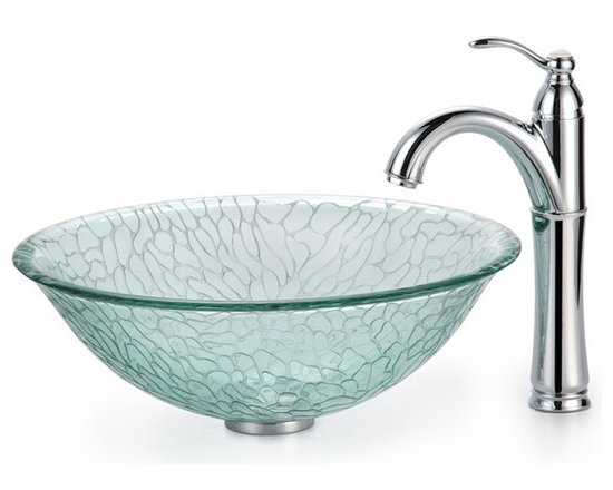 "Kraus C-GV-950-12mm-1005 Broken Glass Vessel Sink and Riviera Faucet - APPLY COUPON CODE ""EDHOUZ20"" AT CHECKOUT. JUST OUR WAY OF SAYING THANKS."