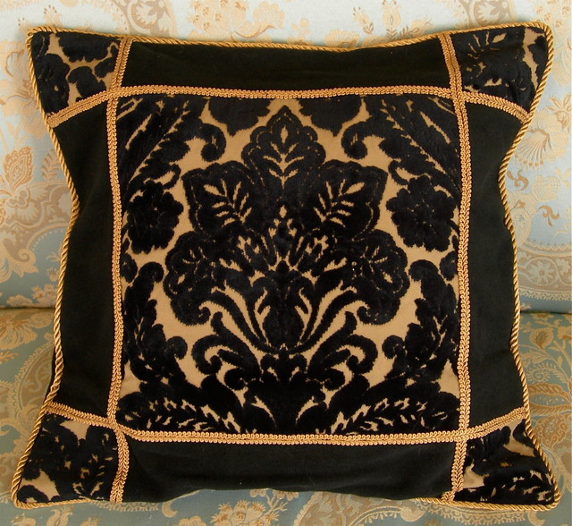 Decorative Pillows Black And Gold : Black & Gold Cut Velvet Pillow Cushion Cover - Decorative Pillows - other metro - by Oggetti ...