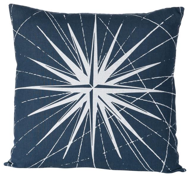 Montauk Compass Rose Pillow, Navy/White contemporary-decorative-pillows