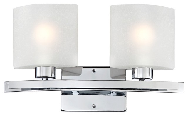 "Possini White Linen Glass Chrome 17"" Wide Bath Light contemporary-bathroom-vanity-lighting"