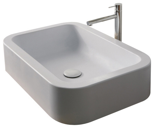 Rectangular White Ceramic Vessel Bathroom Sink, No Hole - Contemporary ...
