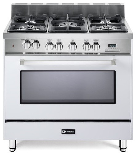 """Verona 36"""" Dual Fuel Single Oven Range, White - Contemporary - Gas Ranges And Electric Ranges ..."""