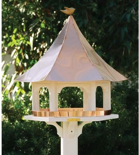 Lazy Hill Carousel Bird Feeder With Copper Roof traditional-bird-feeders