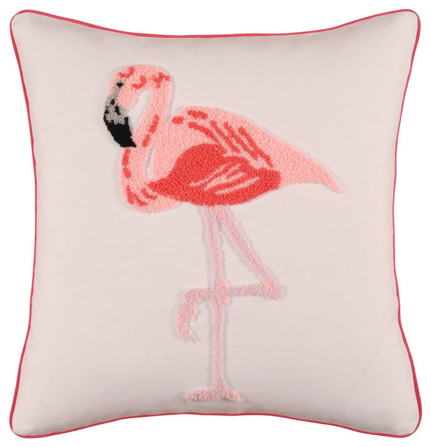 Hooked Wool Flamingo Pillow contemporary pillows