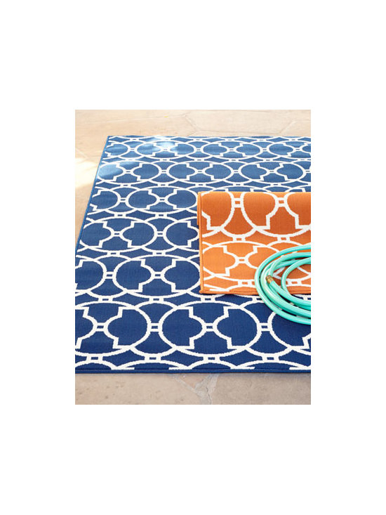 "Horchow - ""Baja Circles"" Indoor/Outdoor Rug - A simple graphic pattern with a refreshing twist—on-trend runway fashion and a bold, exciting color palette—means this rug is perfect for creating the ultimate indoor or outdoor oasis. Machine tufted of polypropylene. Select color when order..."