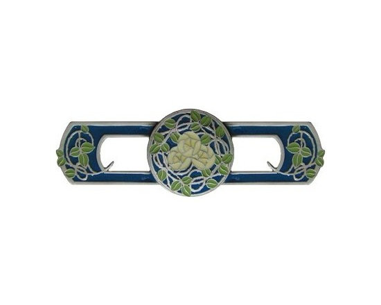 """Inviting Home - Delaney's Rose Pull (antique pewter-blue) - Hand-cast Delaney's Rose Pull in antique pewter-blue finish 4-1/4""""W x 1-1/4""""H Product Specification: Made in the USA. Fine-art foundry hand-pours and hand finished hardware knobs and pulls using Old World methods. Lifetime guaranteed against flaws in craftsmanship. Exceptional clarity of details and depth of relief. All knobs and pulls are hand cast from solid fine pewter or solid bronze. The term antique refers to special methods of treating metal so there is contrast between relief and recessed areas. Knobs and Pulls are lacquered to protect the finish. Detailed Description: The Delaney's Rose pulls have a lot more detail with sharp defining lines. The colors will punch up any cabinet doors or drawers. The vivid design will give an old world and rustic feel to the cabinet. While you can use the Delaney's Rose knobs in a different color or use more than one different color. It is a sure way to get the eclectic look while the same pattern ties the whole design together."""