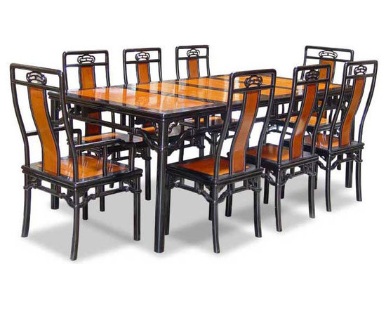 "China Furniture and Arts - 80in Rosewood Ming Style Dining Table with 8 Chairs - An imperial opulence is uniquely created by the bi-color scheme of our grand dining set. The black edges mirror the smooth and sleek lines of the eight matching chairs in a unified theme. Completely hand made in solid rosewood by artisans in China, using the traditional joinery technique. The table can be extended to 80"" with two 18"" removable leaves for your convenience. Fit for any style of table decoration and is big enough for hosting a banquet in your own home. Each chair has a Ru-Yi motif, which is the symbol of Chinese good luck, carved on the back."
