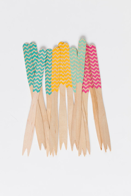 Wooden Cocktail Forks, Classic Chevron by Sucre Shop contemporary-disposable-utensils