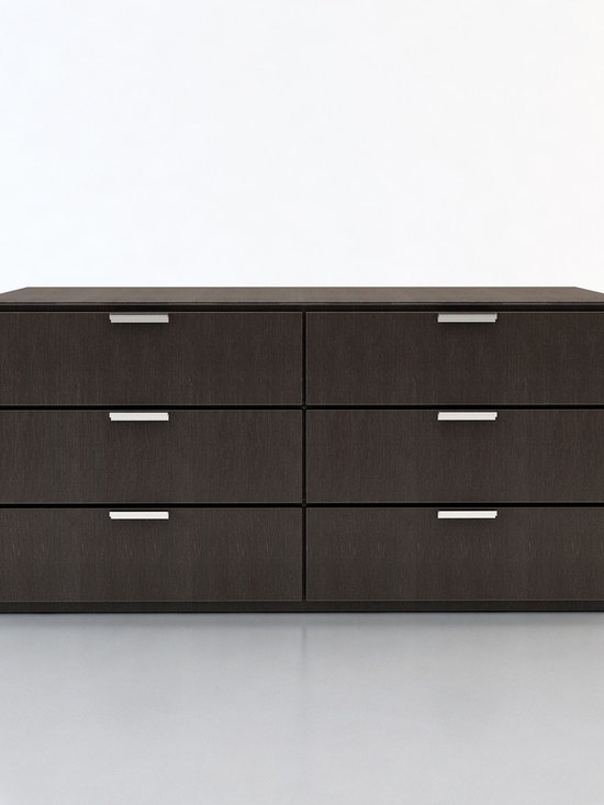 Thompson Contemporary & Modern Dressers by ModLoft - The Thompson six-drawer split dresser with chrome handles matches any modern bedroom decor. European soft-closing glides enable effortless drawer movement. Interior of drawers elegantly lined in light beige linenboard. Available in wenge or walnut wood finishes. Also available in white lacquer finish. No assembly required. Imported.