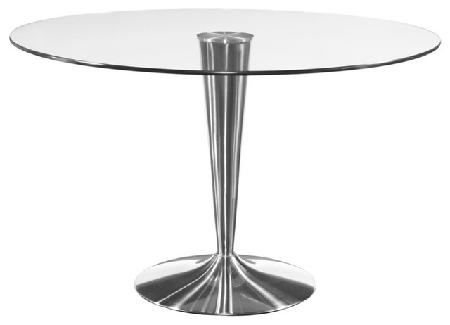 Round Glass Dining Table W Chrome Base Contemporary Dining Tables