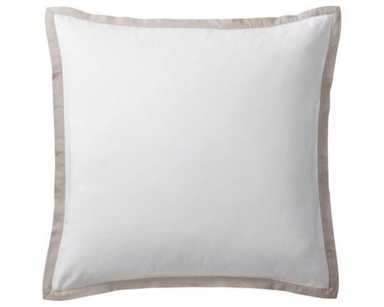 """Serena & Lily - Bark Border Frame Euro Sham - A clean, simple design for those who crave a quieter bed. Tailored from crisp white 300-thread-count 100% cotton sateen; finished with a 1"""" flange in bark."""