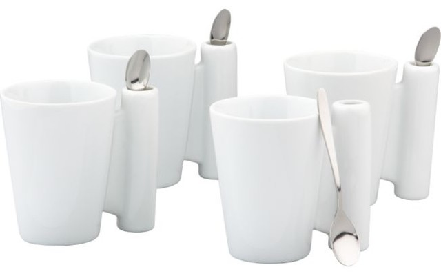 8-piece Spoon Coffee Mug, White modern dinnerware