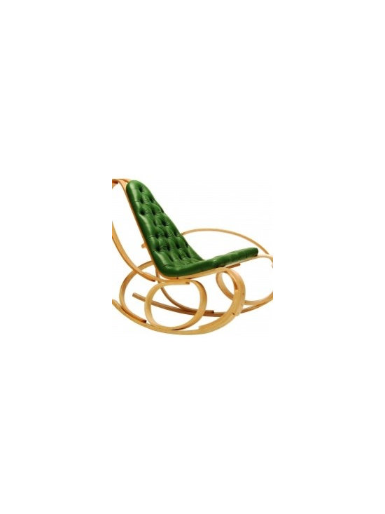Eco Friendly Furnture and Lighting - This Rocking Chair is purposely designed to be one of the most comfortable places to sit and relax. The chair's flowing curves, twists and asymmetric shape, makes certain this creation is the showpiece of any room. The chair is upholstered in vegetable leather by a local craftsman. Each chair is handmade, signed and dated by myself.