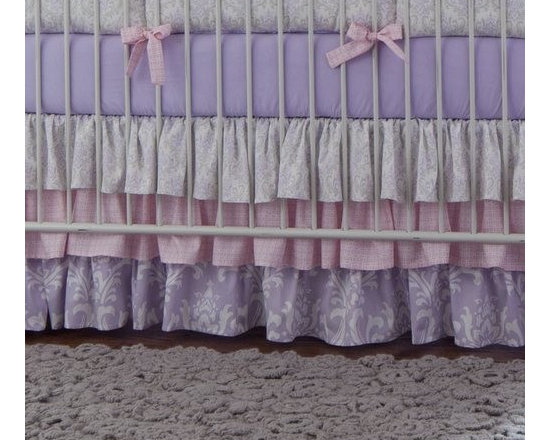 Lilac and Silver Gray Damask Crib Skirt - Crib Skirt with Gathered Tiers by Carousel Designs