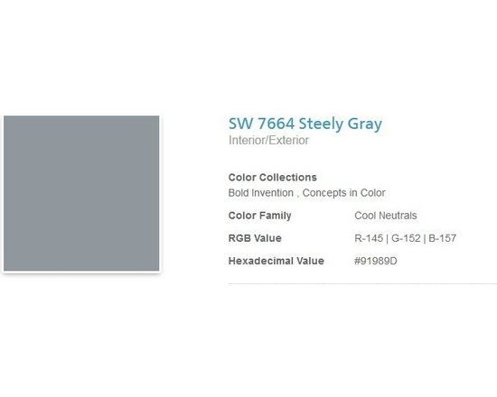 Jerilyn's Successful Paint Colors - A great gray for an industrial look. I've used this in offices. By Sherwin Williams.
