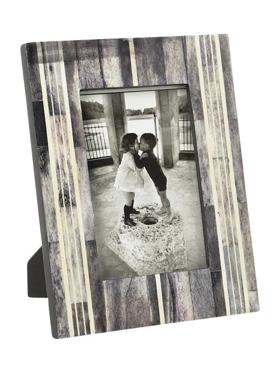 Lazy Susan - Horn and Bone Frame, 5x7 - A graphic pattern of winter strips over warm grays frames photos exquisitely. Made from genuine horn and bone, the beautiful frame provides a wonderful home for a favorite photo.