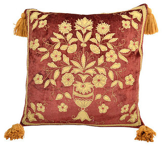 Consigned Rusty Rose Pillow w/ Floral Design - Traditional - Decorative Pillows - by LR Antiques