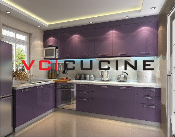 shape PVC purple cabinet for small kitchen modern kitchen cabinetry