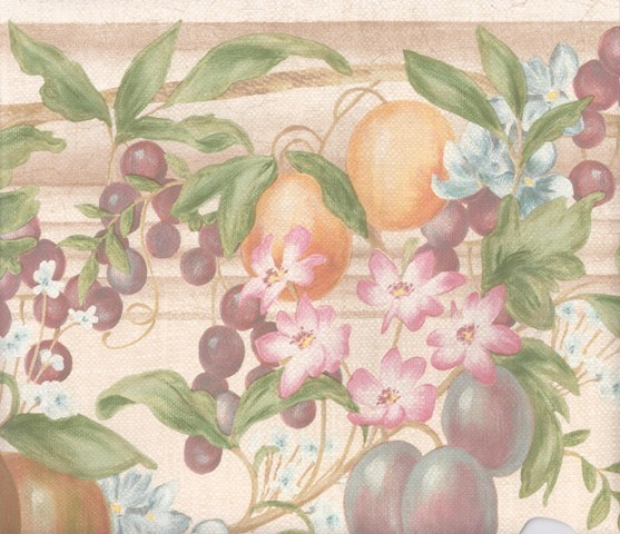 Cream Beige Oranges Grapes Floral Wallpaper Border traditional-wallpaper