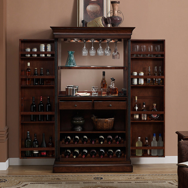 Ashley Heights Home Bar Wine Cabinet - Contemporary - Indoor Pub And ...